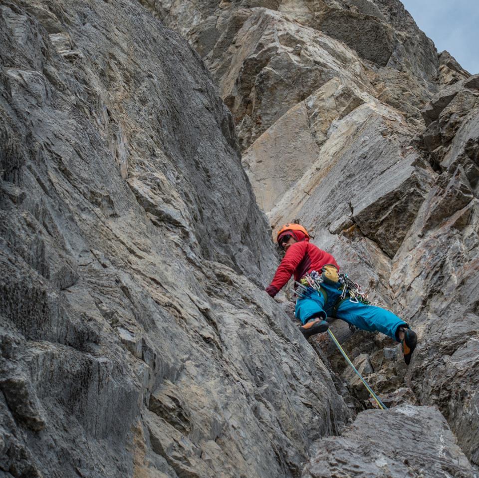 Me leading out on Kahl Wall on Mt Yamnuska.