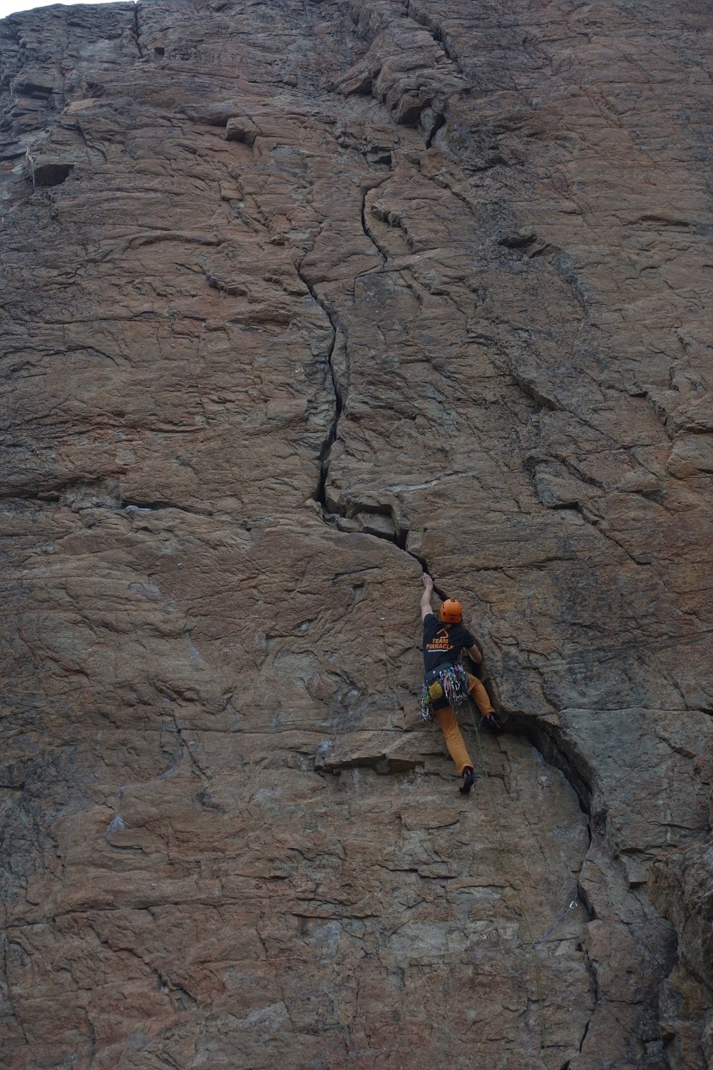 I love onsight climbing. Here I am on Grassy Glades, a 5.10a/18 climb protected using natural protection in the prominent crack system.