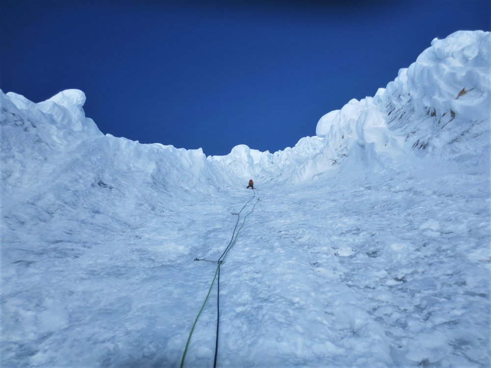 Me on lead on the French Direct route of Alpamayo surrounding by some of the most amazing snow features I have ever seen. (Photo by Andrew Banks).