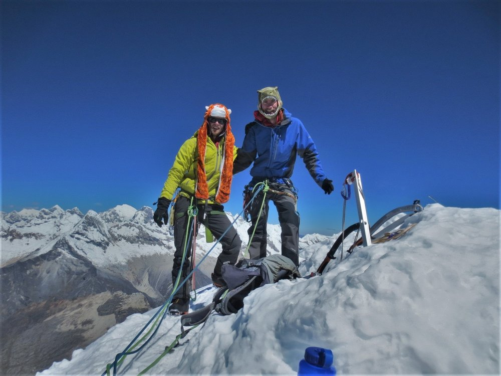Andrew and I standing on the summit of Alpamayo.