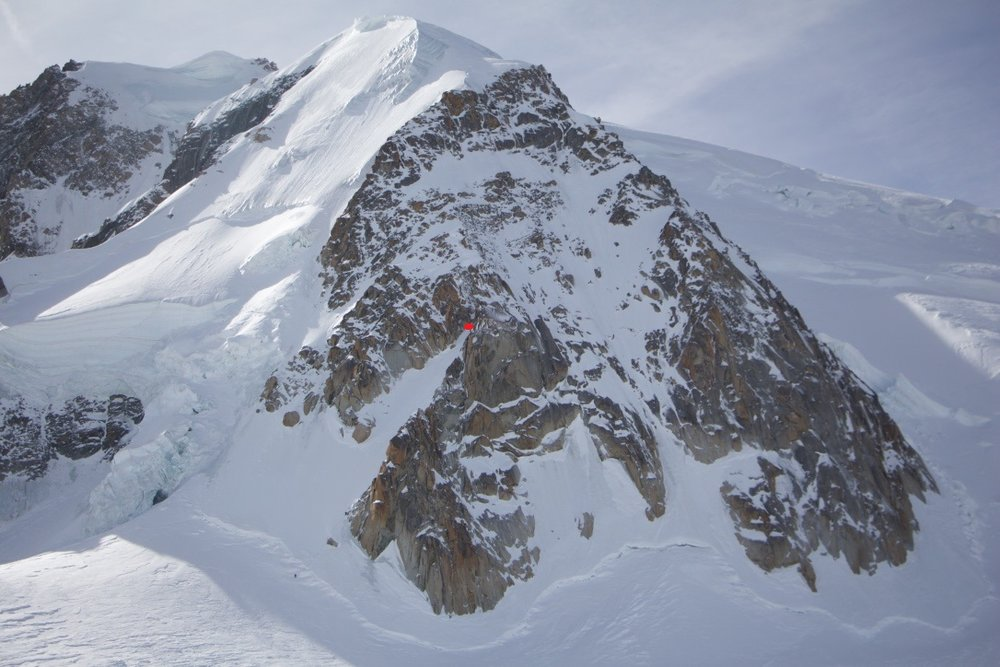 The Triangle du Tacul above Chamonix, France. The red dot indicates where Andrew was when the accident occurred. (Source: www.coastmountainskiing.com)