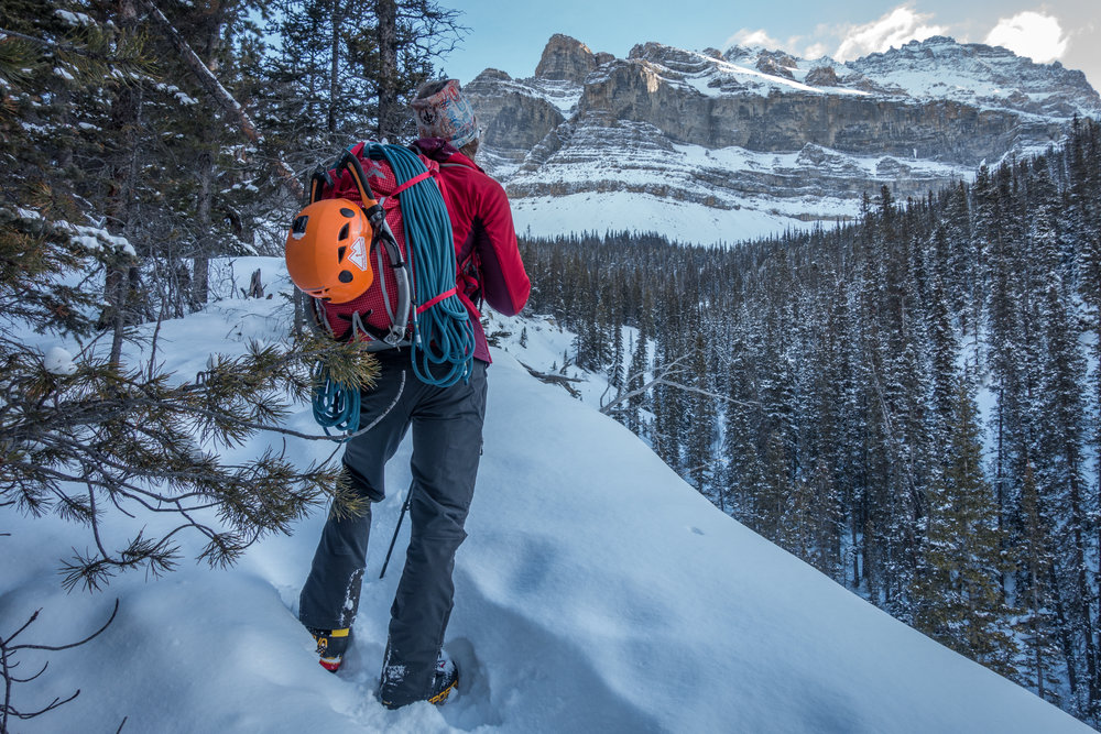 The Macpac Pursuit Climbing Pack fits everything you need for an alpine adventure without compromising on your ability to climb. (Photo by Jaz Morris).