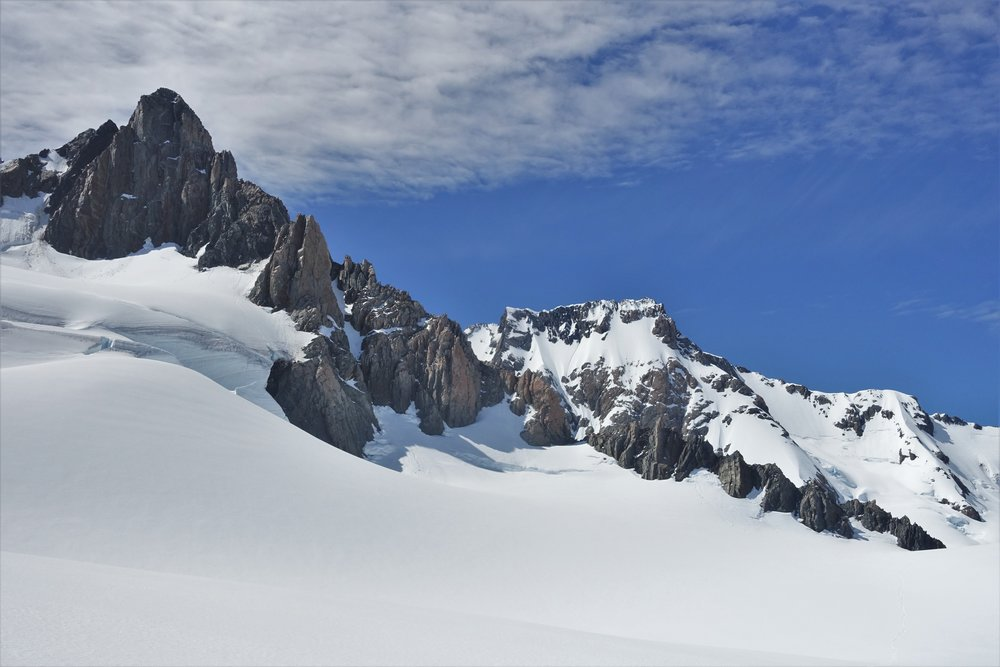 Approaching the TV Slab on Mt Alack. It is the proud pinnacle of rock just to the left of center.