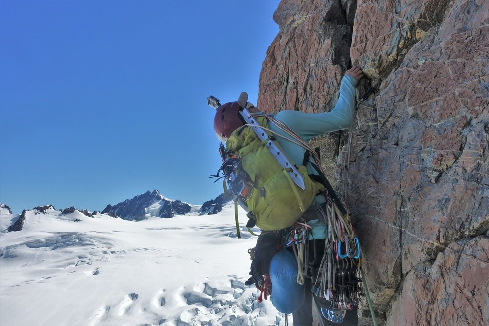 Mike at the crux of Fintastic, a great route to do in your boots.