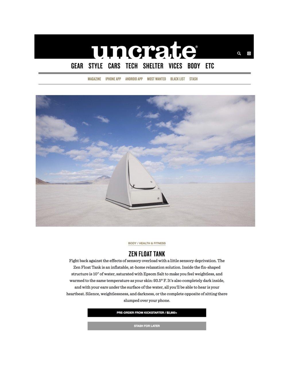 Zen Float Co, Uncrate