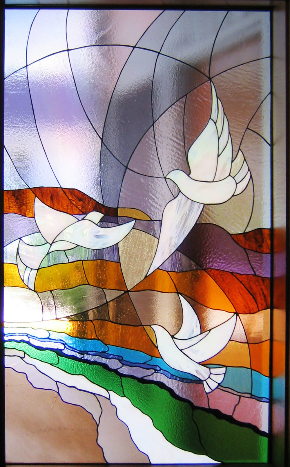 abstract stained glass dove birds sunset palo alto atherton menlo park san jose san francisco bay area.jpg
