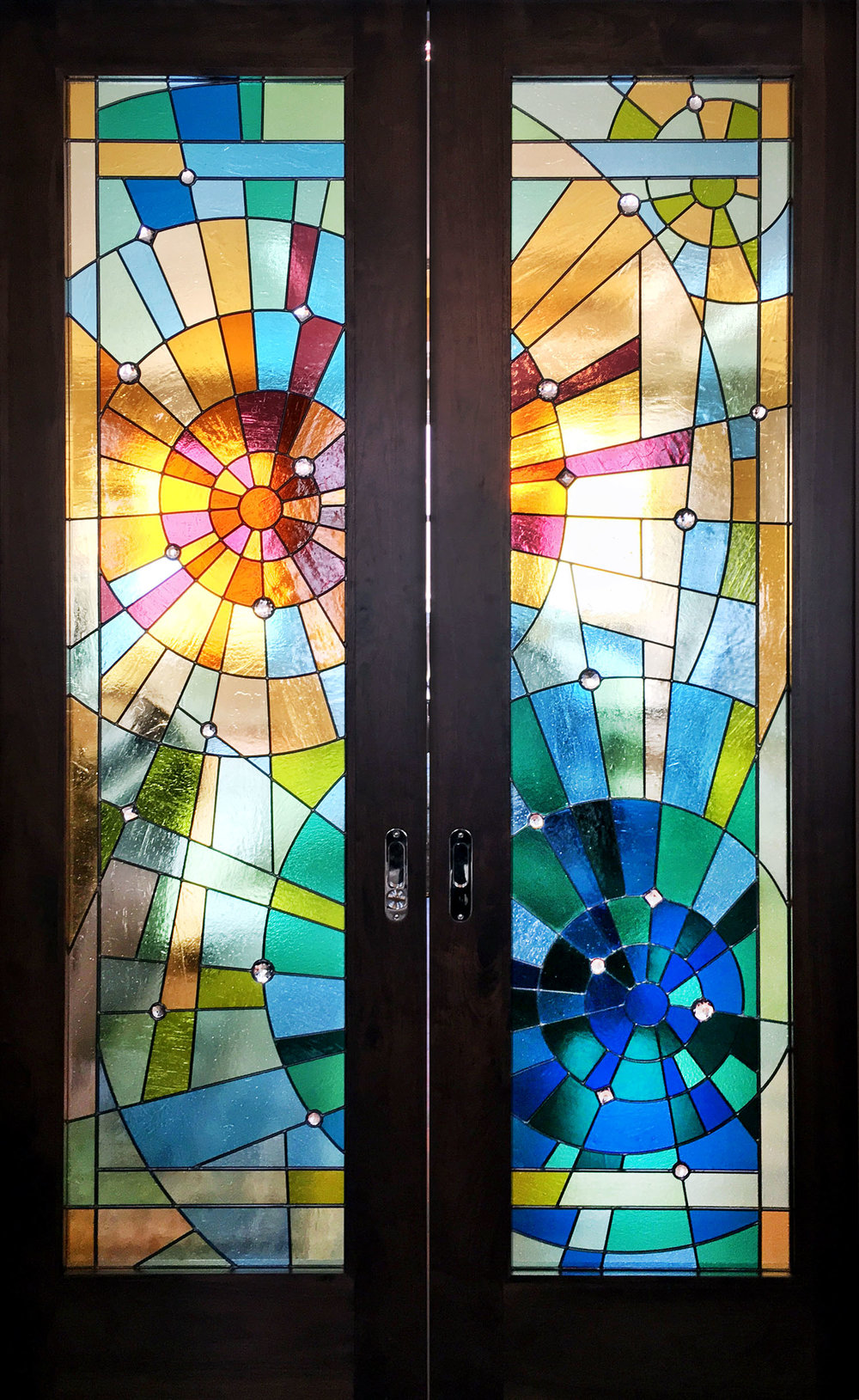 abstract stained glass pocket doors sunburst concentric palo alto atherton menlo park san jose san francisco bay area legacy glass.jpg