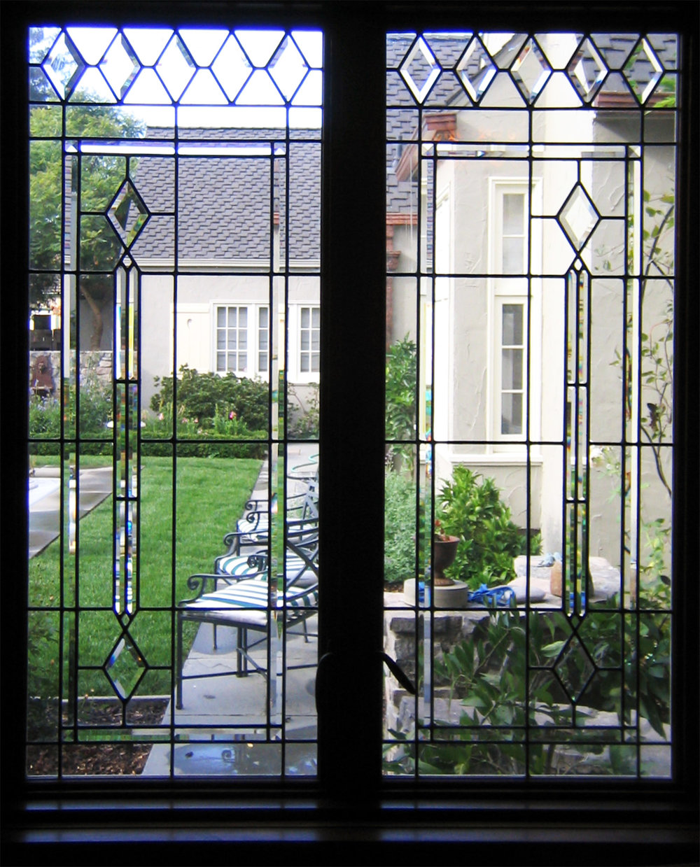 pencil bevel diamond beveled leaded glass stained glass window palo alto atherton california san francisco2.jpg