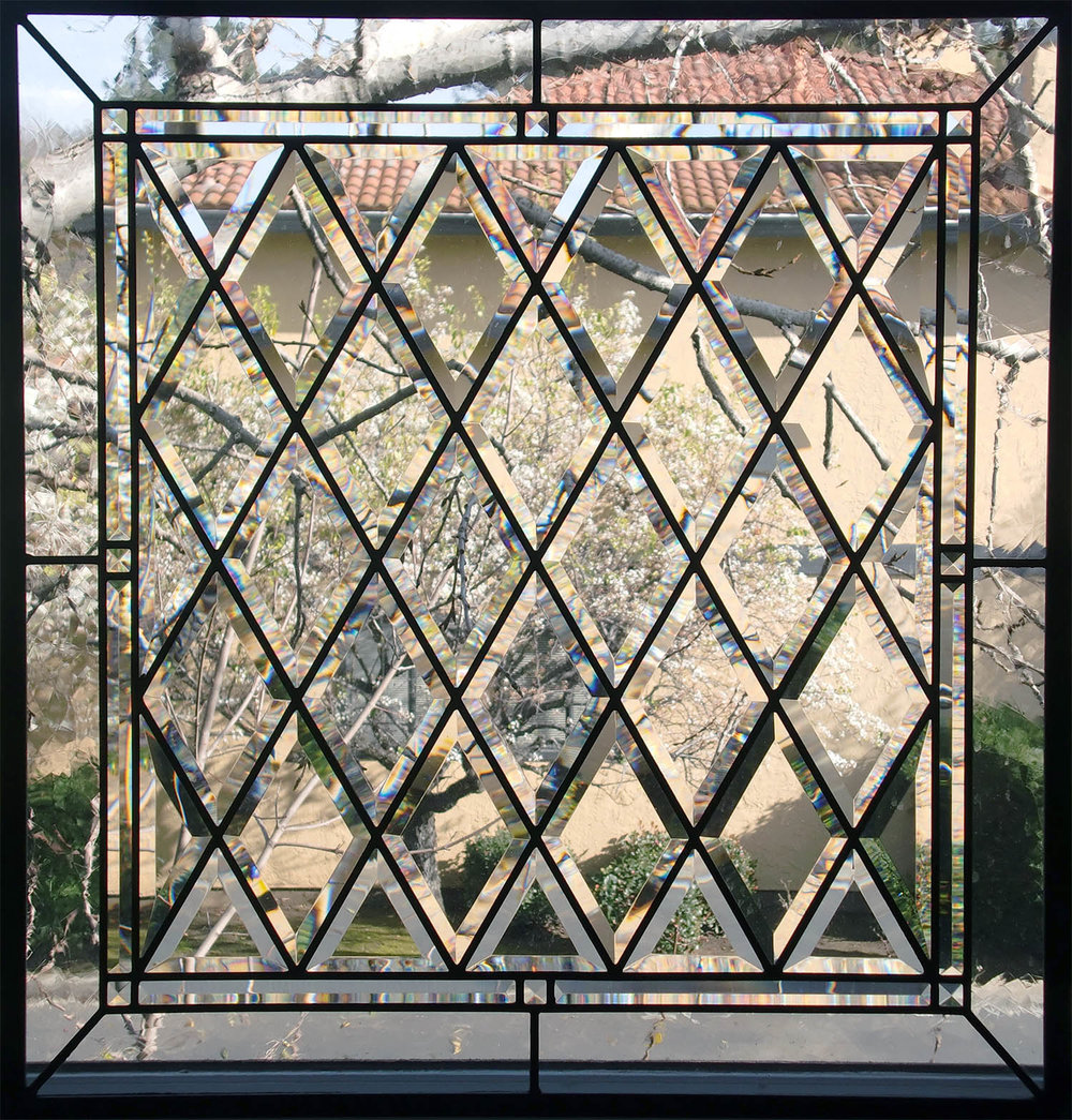 pencil bevel diamond beveled leaded glass stained glass window palo alto atherton california san francisco.jpg