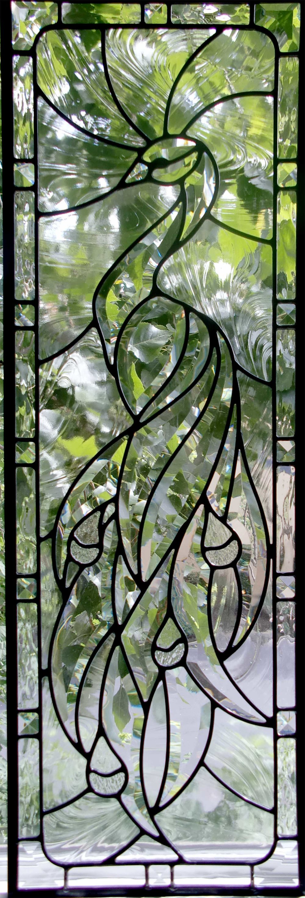 bevel cluster peacock baroque glass clear texture beveled leaded glass stained glass window palo alto atherton california san francisco.jpg