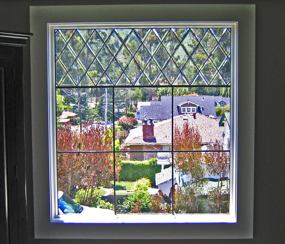 bevel diamond beveled leaded glass stained glass window palo alto atherton california san francisco.jpg