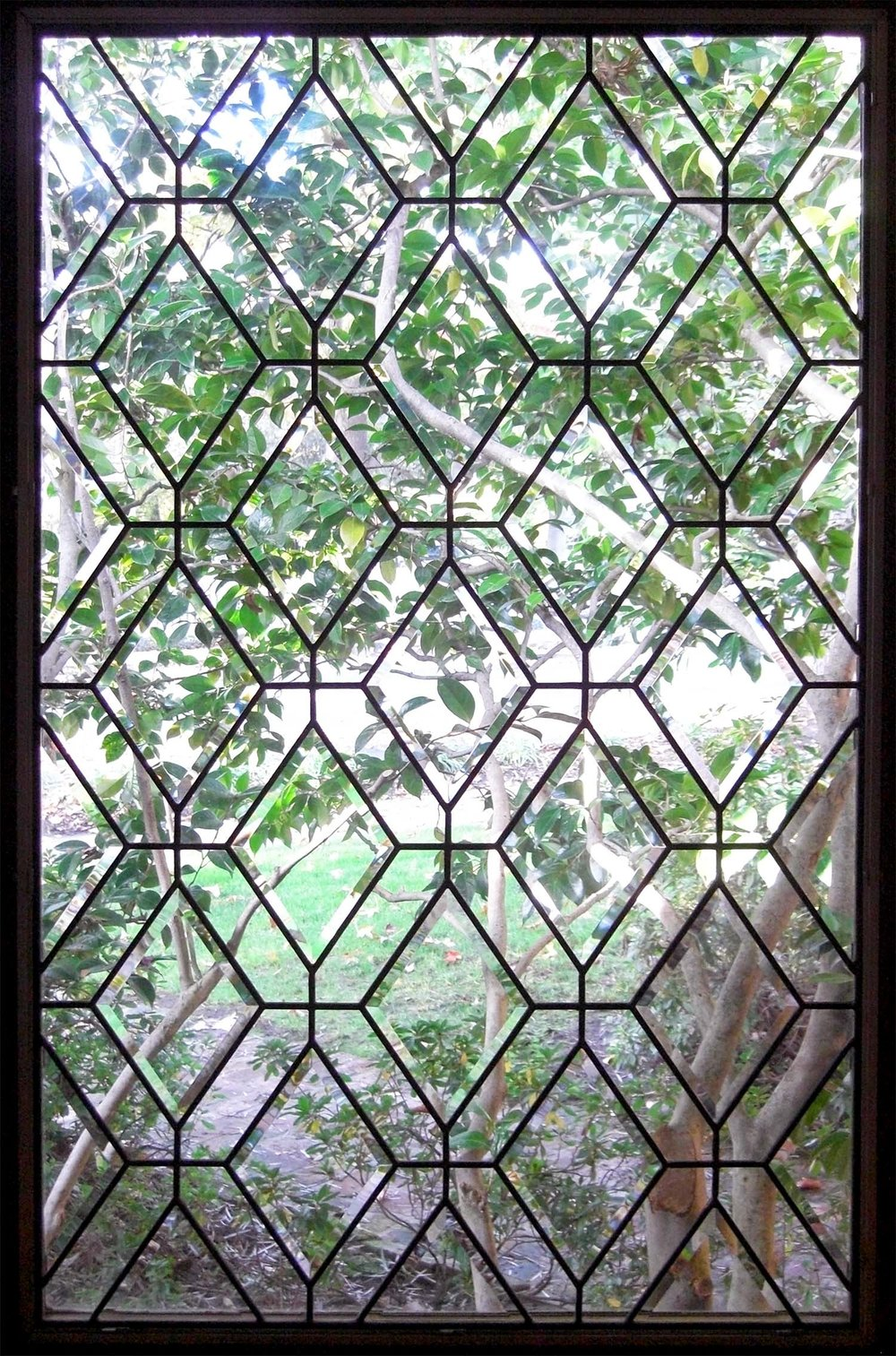diamond pattern clear texture leaded glass stained glass window palo alto atherton california san francisco san jose legacy glass.jpg