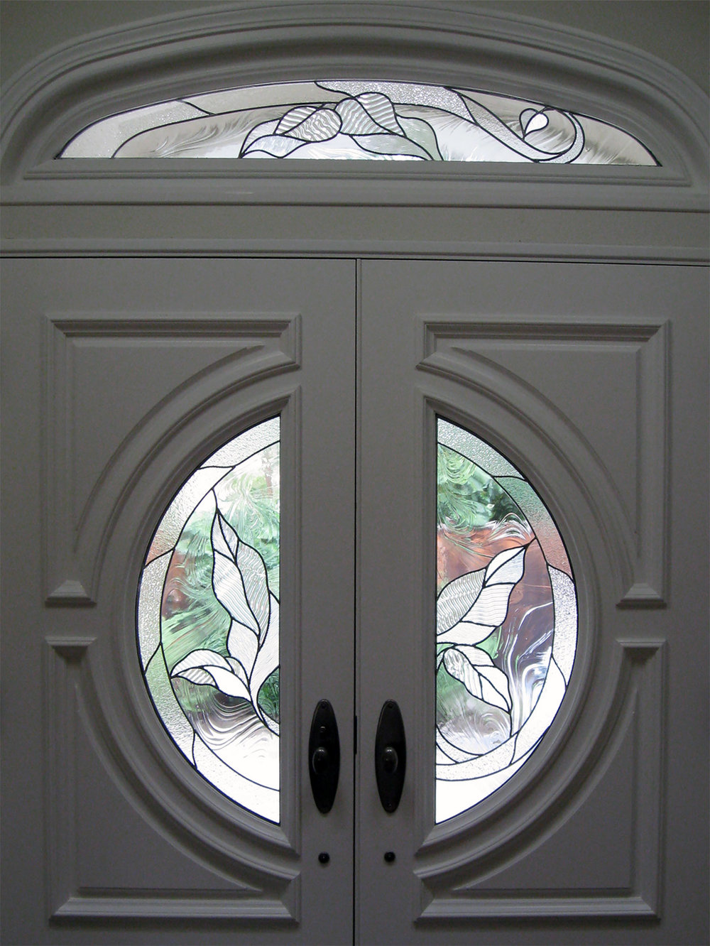 leaf circle door baroque clear texture leaded glass stained glass window palo alto atherton california san francisco san jose legacy glass.jpg