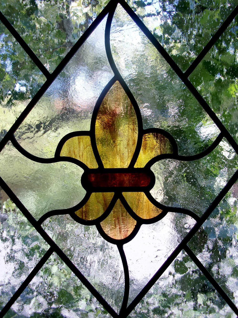 fleur de lis satin seedy glass antique craftsman leaded glass stained glass window palo alto atherton california san francisco san jose.jpg