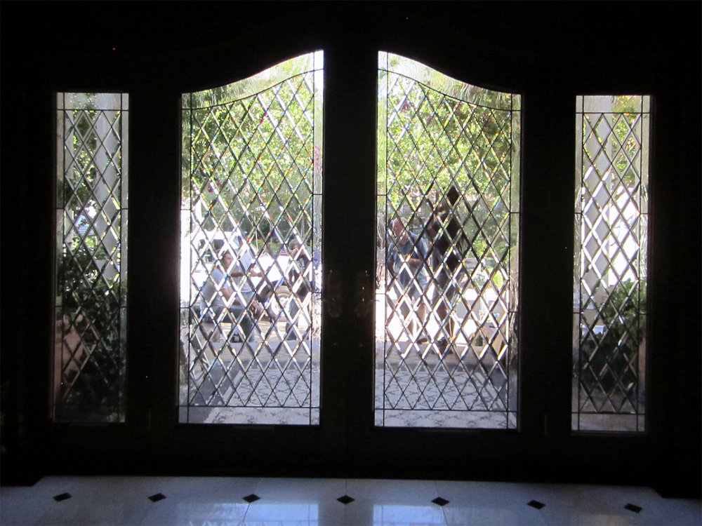 beveled diamond arched door sidelights clear texture leaded glass stained glass window palo alto atherton california san francisco san jose legacy glass.jpg
