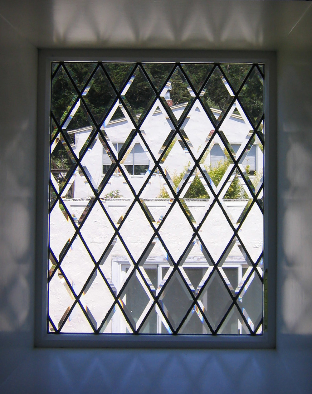 beveled diamond leaded glass stained glass window palo alto atherton california san francisco san jose legacy glass.jpg