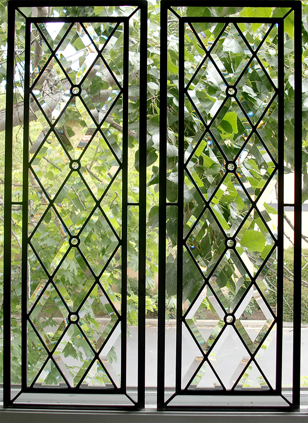 bevel diamond accent border clear texture leaded glass stained glass window palo alto atherton california san francisco san jose legacy glass.jpg