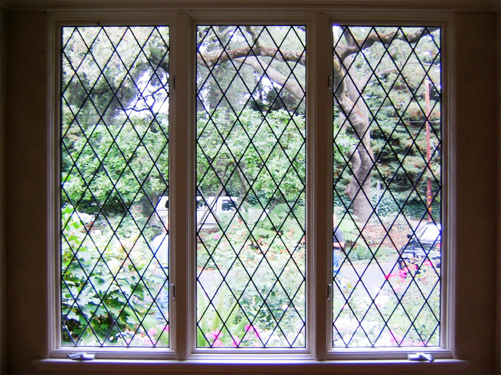 diamond pattern clear texture leaded glass stained glass window palo alto atherton california san francisco san jose legacy glass2.jpg