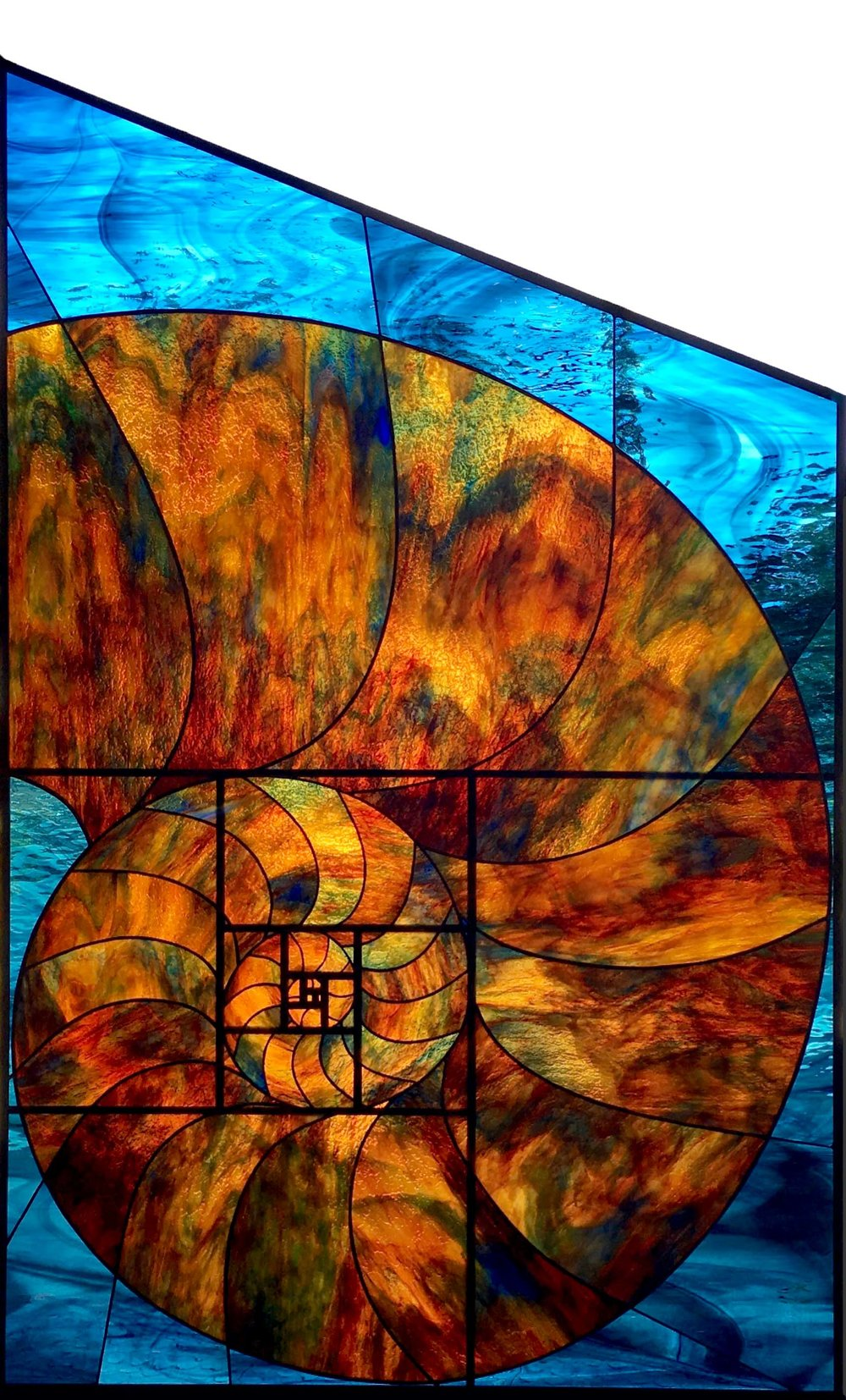 nautilus golden spiral leaded glass stained glass studio palo alto atherton california san francisco san jose legacy glass.jpg