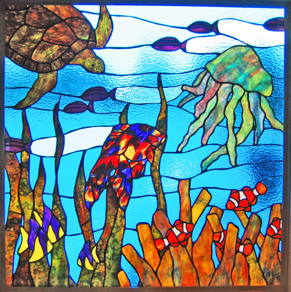 underwater sea life sea turtle jellyfish clown fish ocean leaded glass stained glass studio palo alto atherton california san francisco san jose legacy glass.jpg