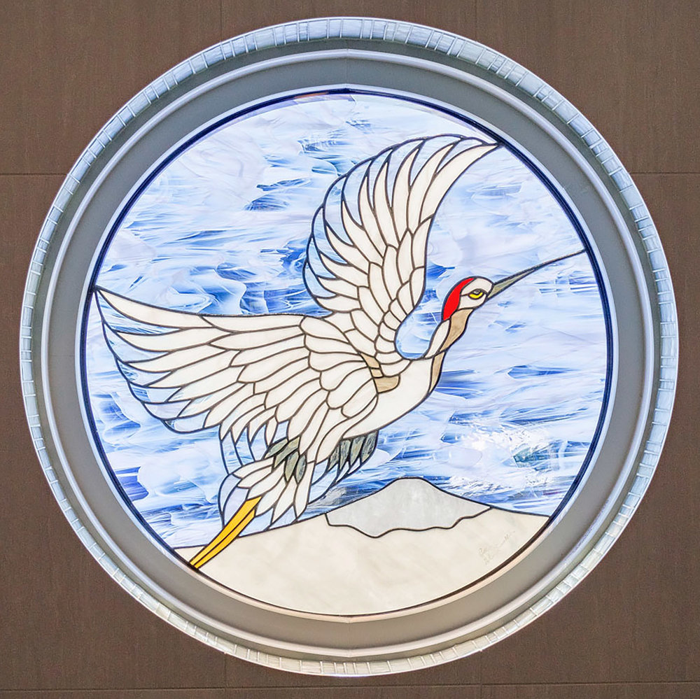 crane flight bird japanese mount fuji leaded glass stained glass studio palo alto atherton california san francisco san jose legacy glass2.jpg