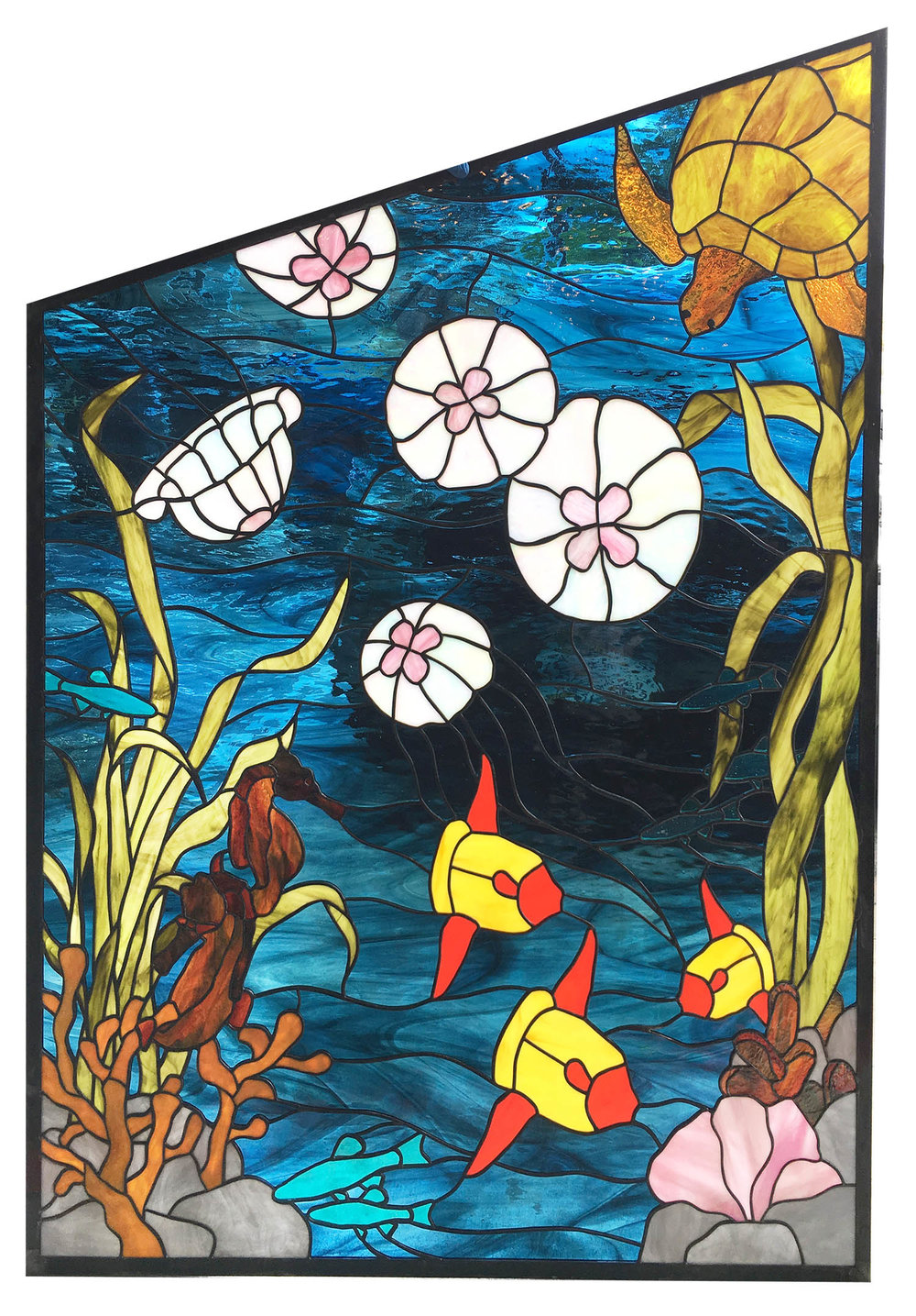 sea life ocean scene jellyfish seahorse sea turle underwater leaded glass stained glass studio palo alto atherton california san francisco san jose legacy glass.jpg