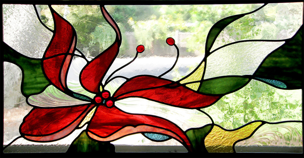 hibiscus flower leaded glass stained glass studio palo alto atherton california san francisco san jose legacy glass.jpg