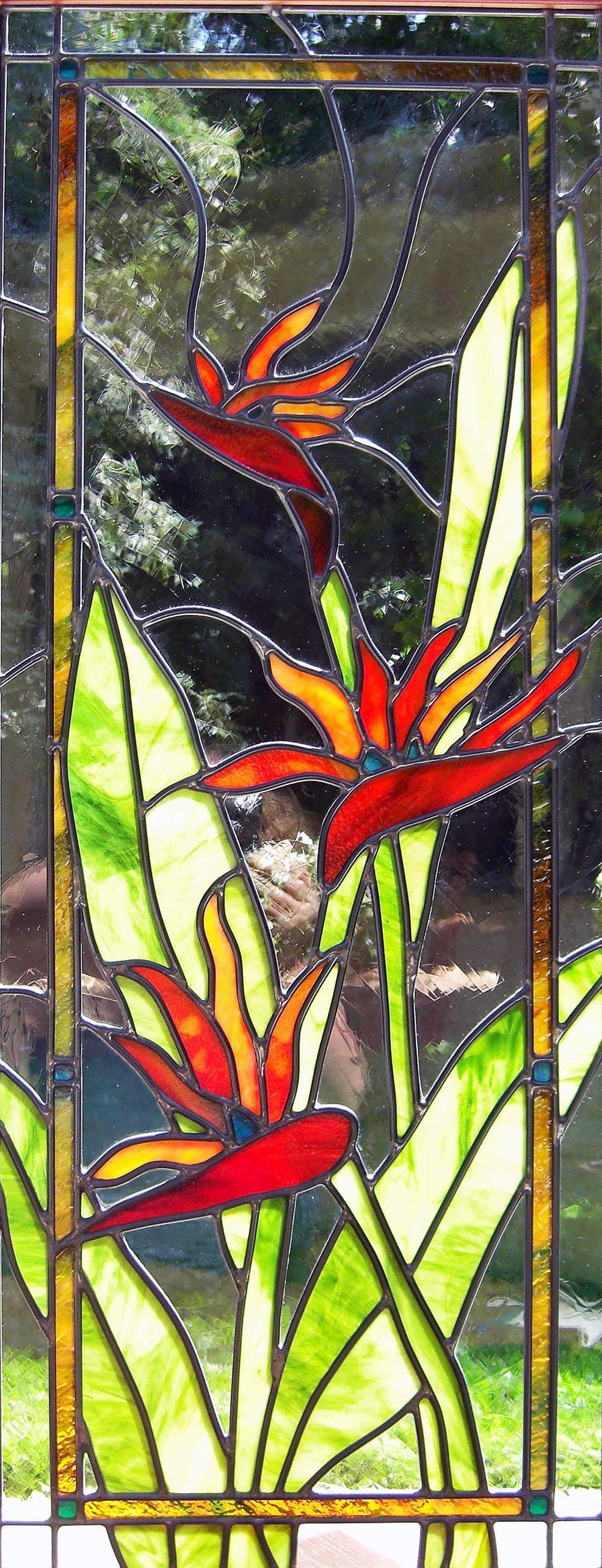 birds of paradise flower floral leaded glass stained glass studio palo alto atherton california san francisco san jose legacy glass.jpg