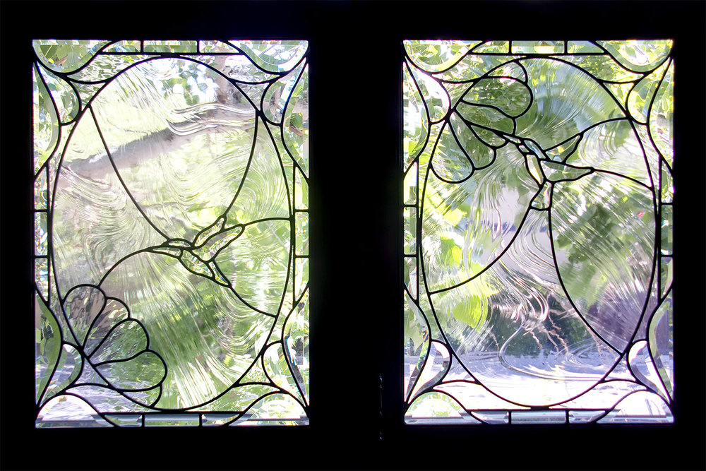 hummingbird baroque glass  leaded glass stained glass studio palo alto atherton california san francisco san jose legacy glass.jpg