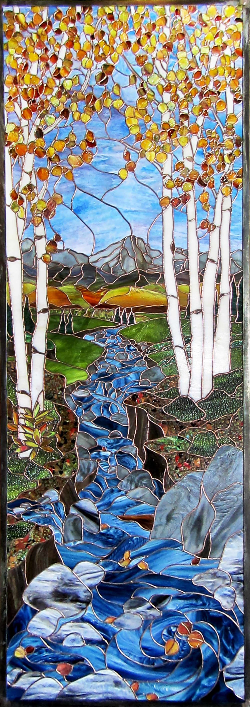aspen tree birch creek mountain scene leaded glass stained glass studio palo alto atherton california san francisco san jose legacy glass.jpg