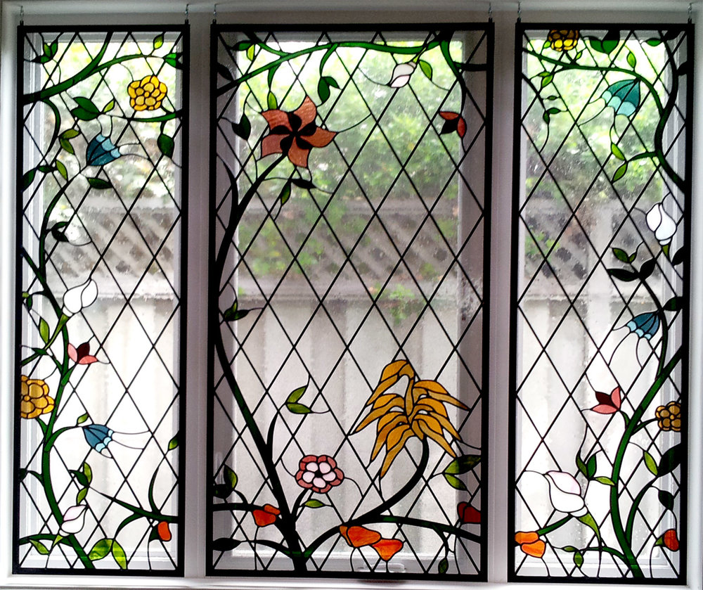 diamond floral whimsical garden leaded glass stained glass studio palo alto atherton california san francisco san jose legacy glass.jpg