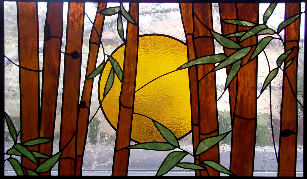 bamboo sunrise leaded glass stained glass studio palo alto atherton california san francisco san jose legacy glass.jpg