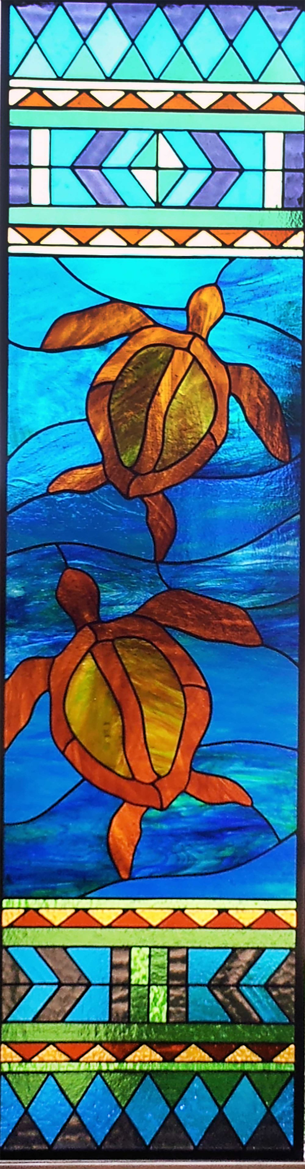 sea turtle ocean geometric leaded glass stained glass studio palo alto atherton california san francisco san jose legacy glass.jpg