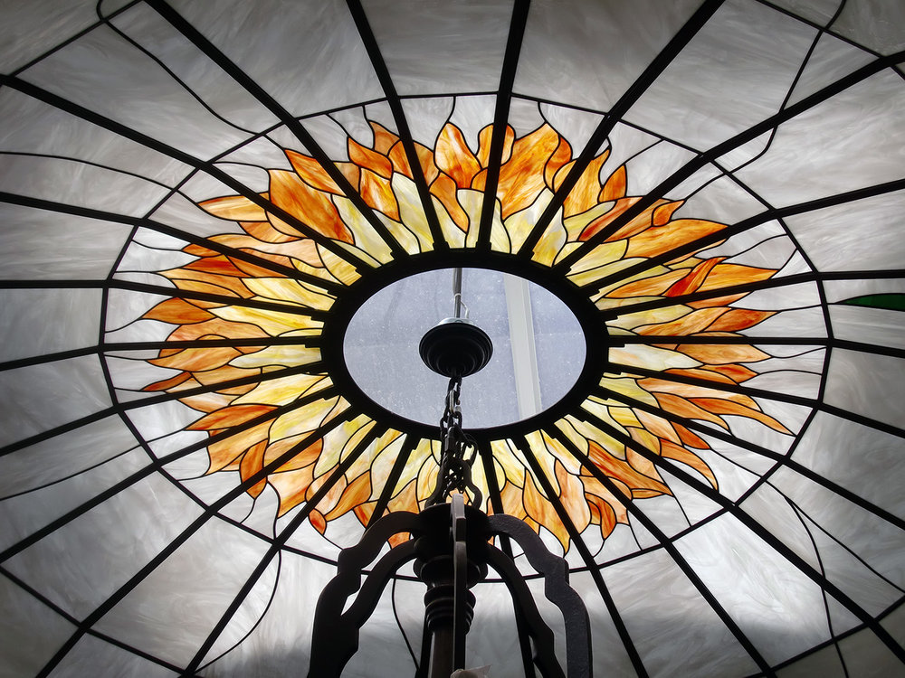 dome gardenia flower chandelier leaded glass stained glass studio palo alto atherton california san francisco san jose legacy glass.jpg