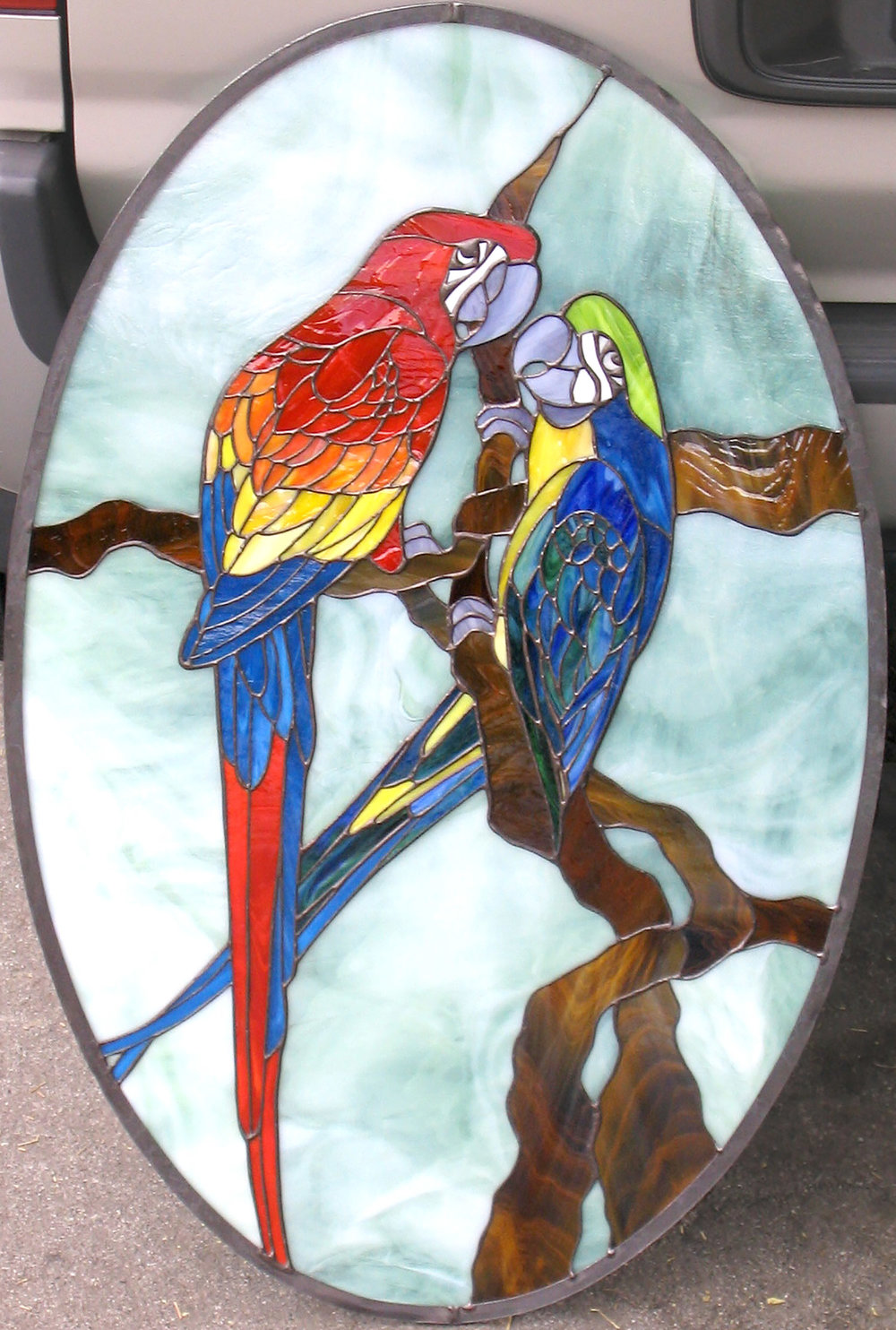 parrot bird leaded glass stained glass studio palo alto atherton california san francisco san jose legacy glass.jpg