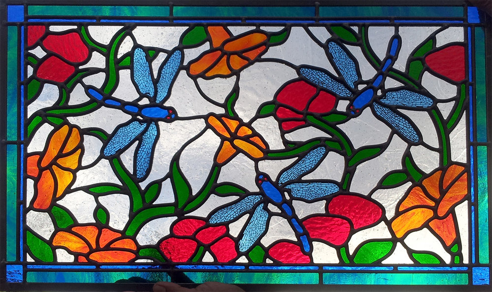 floral flower dragonfly leaded glass stained glass studio palo alto atherton california san francisco san jose legacy glass.jpg