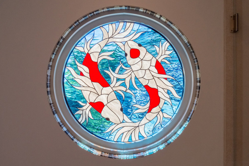 koi fish yin yang design leaded glass stained glass studio palo alto atherton california san francisco san jose legacy glass.jpg