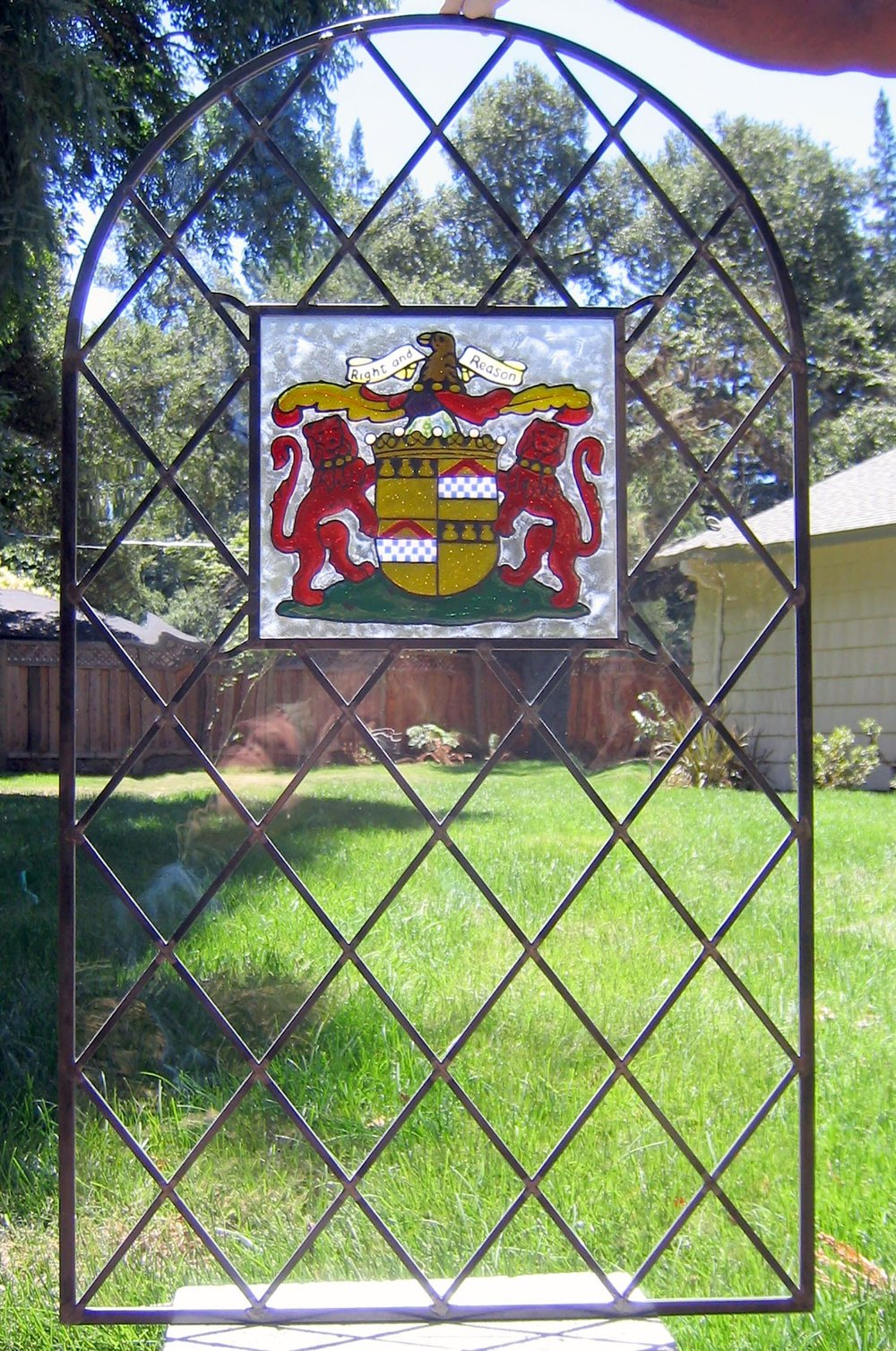 traditional arch diamond family crest leaded glass stained glass studio palo alto atherton california san francisco san jose legacy glass.jpg