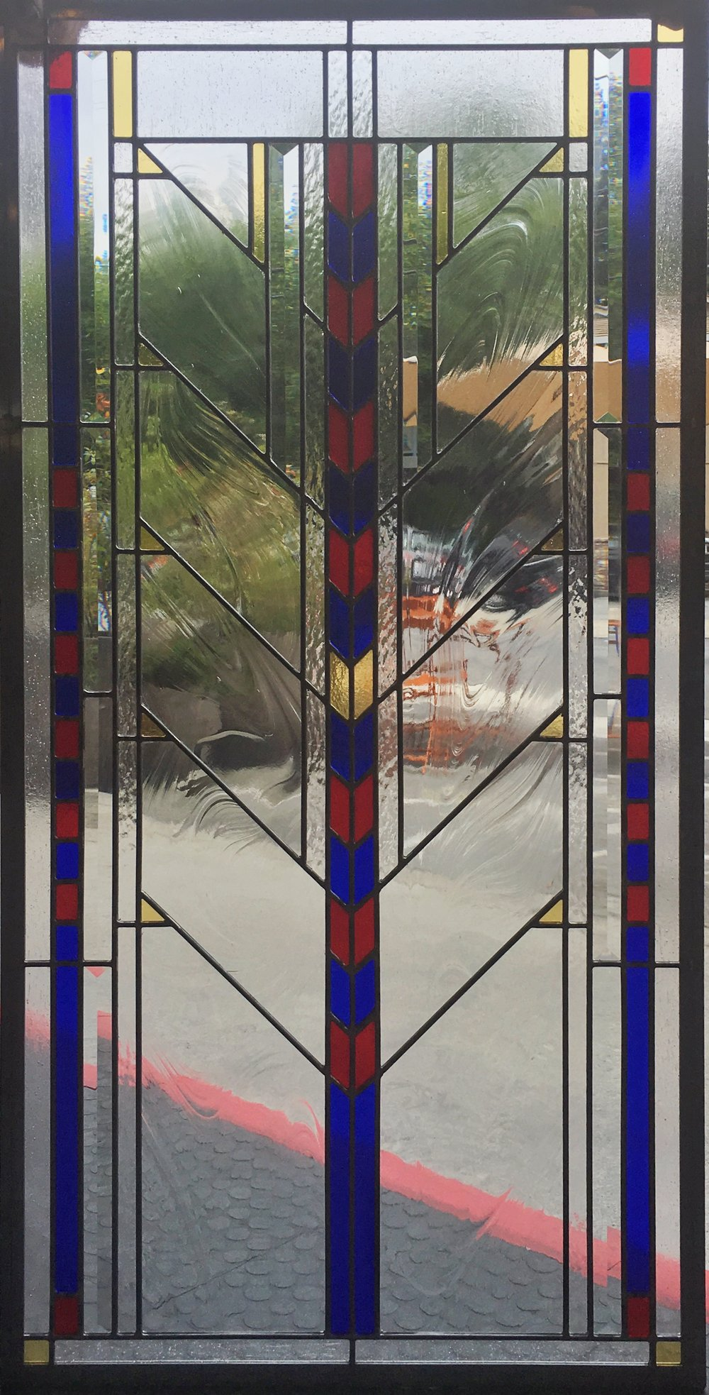 modern geometric frank lloyd wright angled art deco baroque beveled leaded glass stained glass window studio palo alto atherton california san francisco san jose legacy glass.JPG
