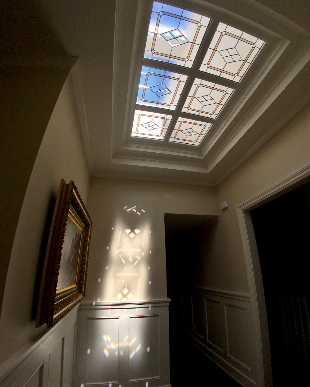 bevel diamond traditional leaded glass stained glass skylight studio palo alto atherton california san francisco san jose legacy glass.jpg