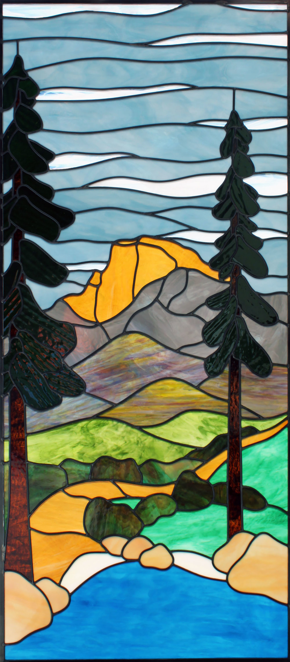yosemite half dome redwood mountain scene leaded glass stained glass window studio palo alto atherton california san francisco san jose legacy glass.jpg