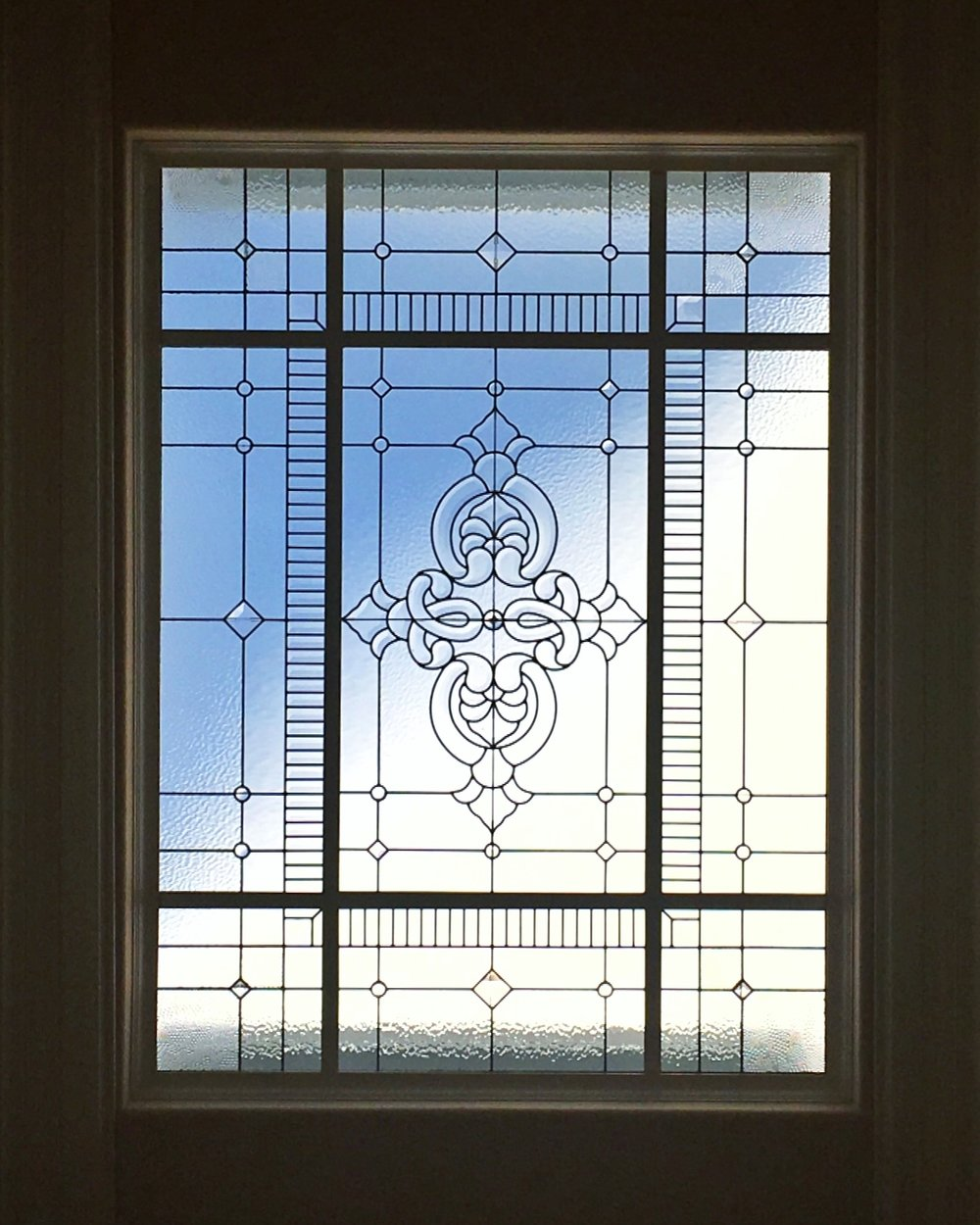 bevel cluster intricate leaded glass stained glass skylight clear textured glass palo alto atherton menlo park san jose san francisco bay area legacy glass.JPG
