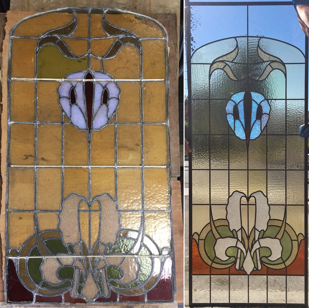 Every once in a while, we get the chance to preserve the legacy of glass artists before us. On the left, is a 200 year old leaded glass panel that our client purchased on auction from a French monastery. It was structurally falling apart due to its framing of soft lead and its bad reinforcement. We deconstructed the panel, cleaned the glass, and rebuilt it with internal reinforcing lining the lead came and our typical, stronger zinc framing. Additionally, our client's window was larger than the original, but they didn't want to alter the design. We added glass above and below before installing into her home.
