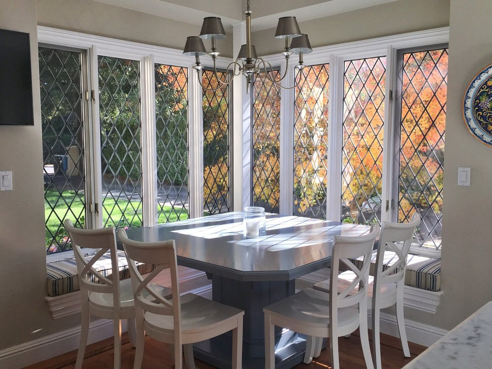 Stained Leaded Glass Legacy Glass Studios Atherton San Francisco Menlo Park California Custom Design Diamond Bay Window Tudor Style Breakfast Nook.JPG