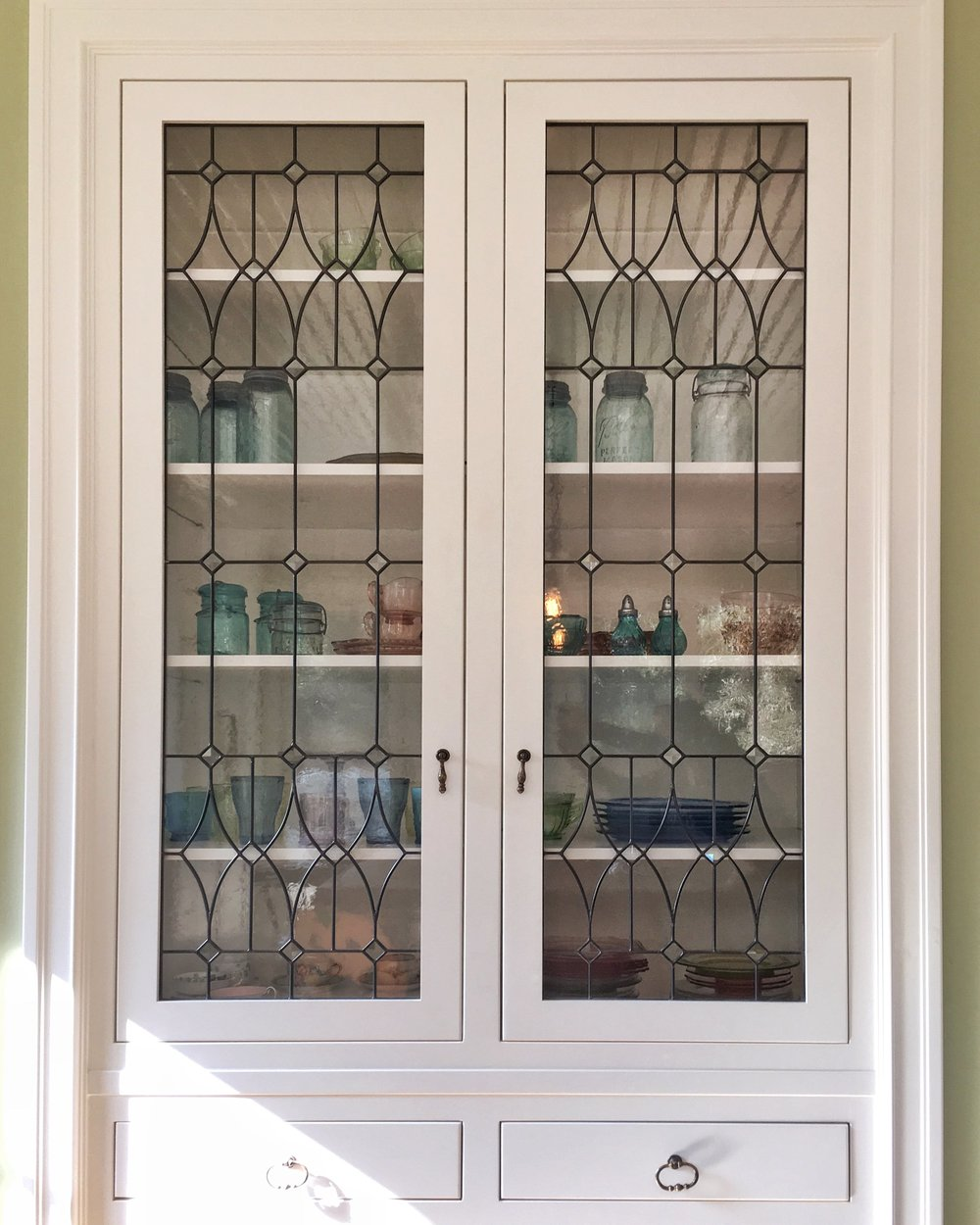 Stained Leaded Glass Legacy Glass Studios Atherton San Francisco Menlo Park California Custom Design Beveled Traditional Victorian Cabinet Doors.JPG