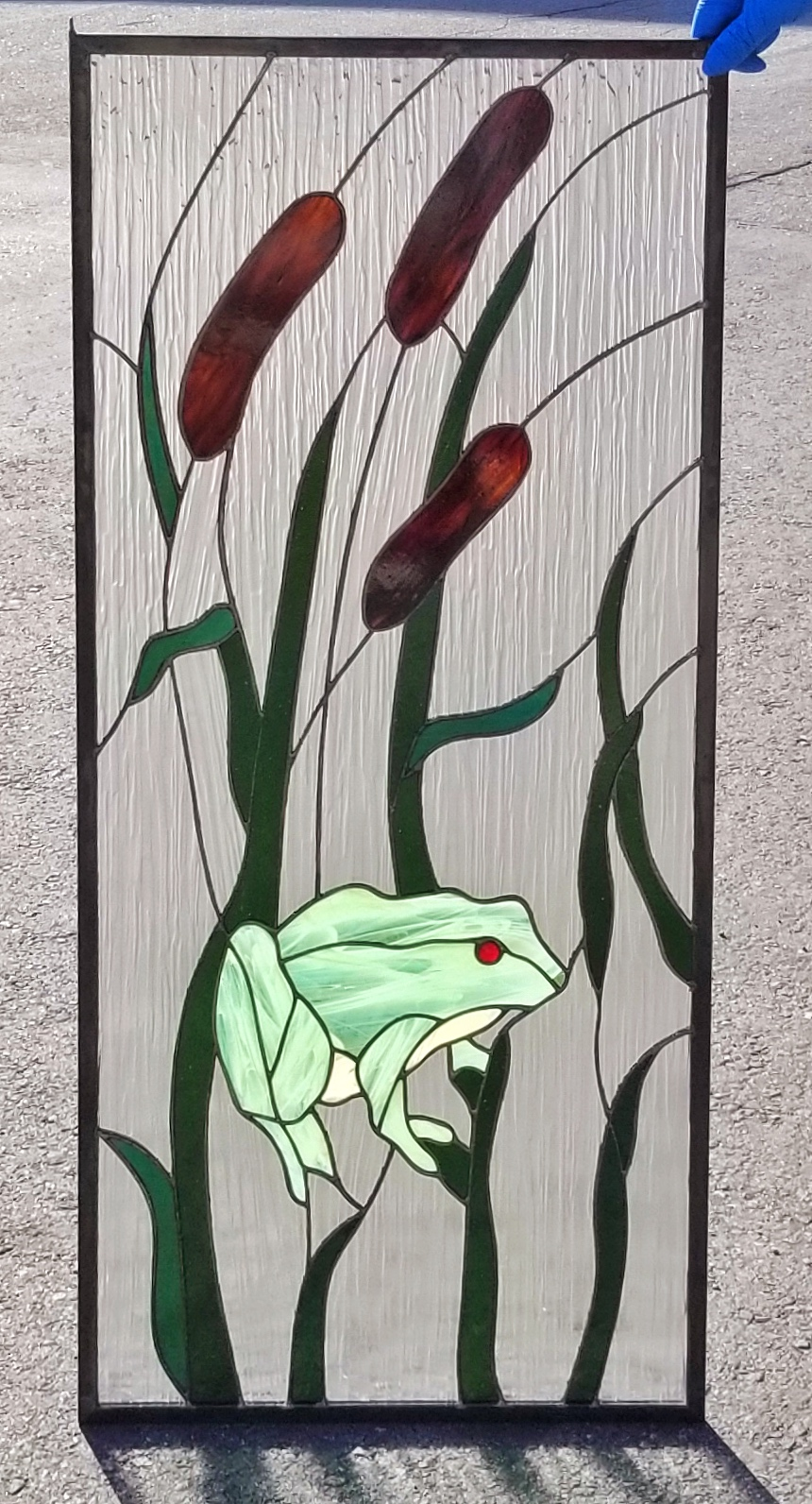 copper foil stained glass frog nature cattails treebark legacy glass studios atherton menlo park san jose san francisco.jpg