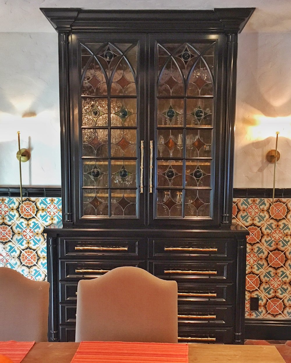 traditional pattern geometric classic design rondel spanish design gothic arched cabinet door leaded glass stained glass legacy glass atherton san jose menlo park san francisco california hutch spanish tile kitchen.jpg