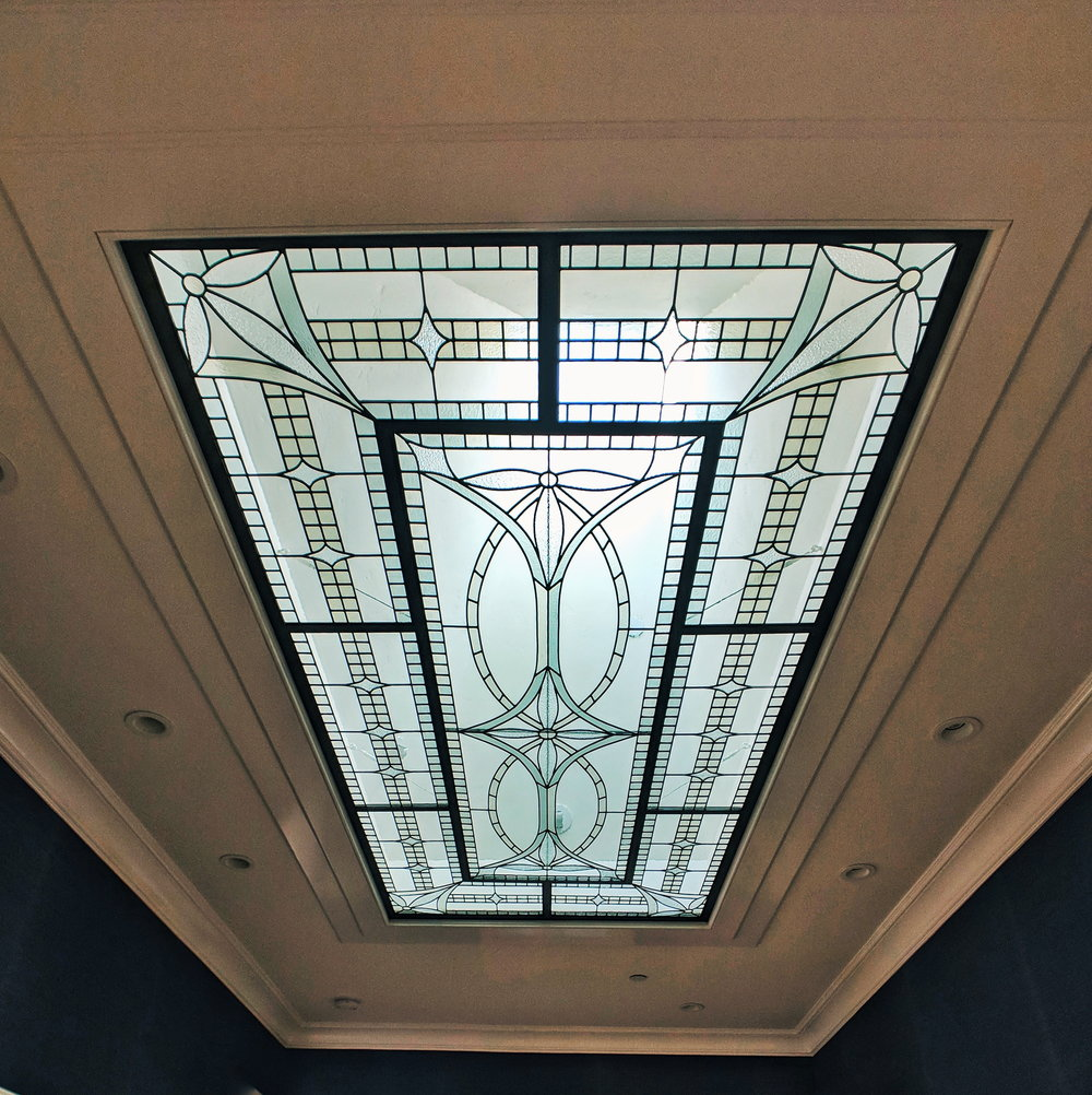 stained glass leaded glass design legacy glass studios menlo park bay area california metal framed skylight lense traditional design transitional.jpg