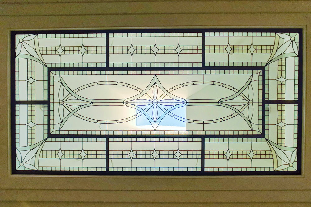 stained glass leaded glass design legacy glass studios menlo park bay area california metal framed skylight lense traditional design.jpg