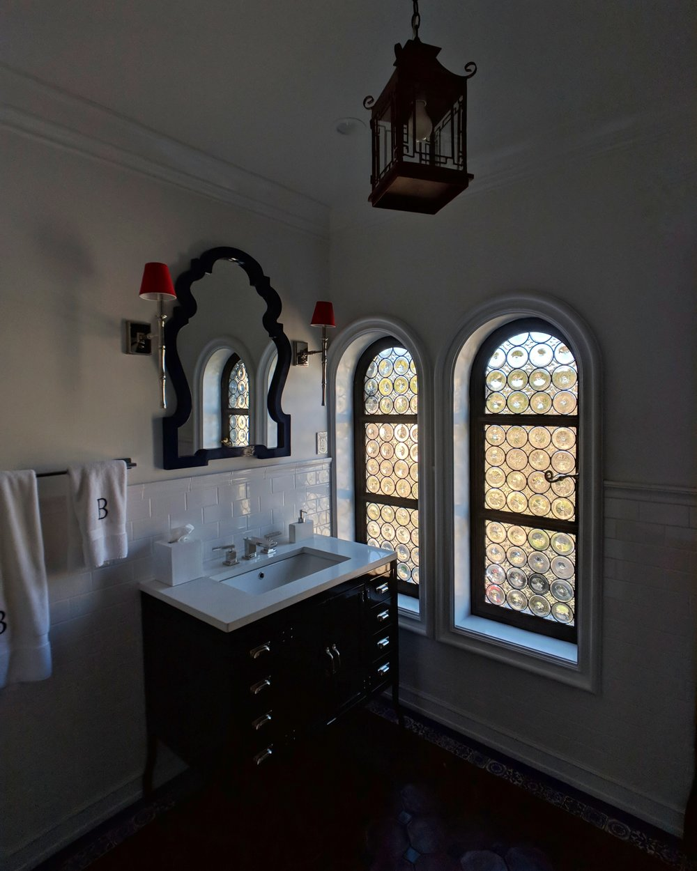 stained glass leaded glass design legacy glass studios menlo park bay area california custom design rondels spanish influence interior design tile privacy glass black bathroom arched vanity.jpeg
